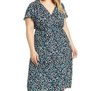 Leith Midi Wrap Dress in Black Petite Fleur sz XL
